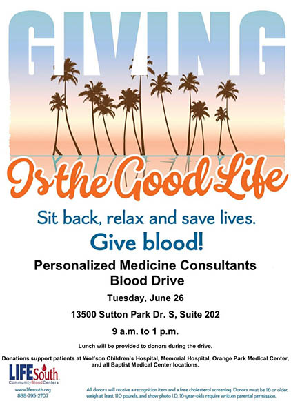 Announcement of the Blood Drive on June 26 at Personalized Medicine Consultants